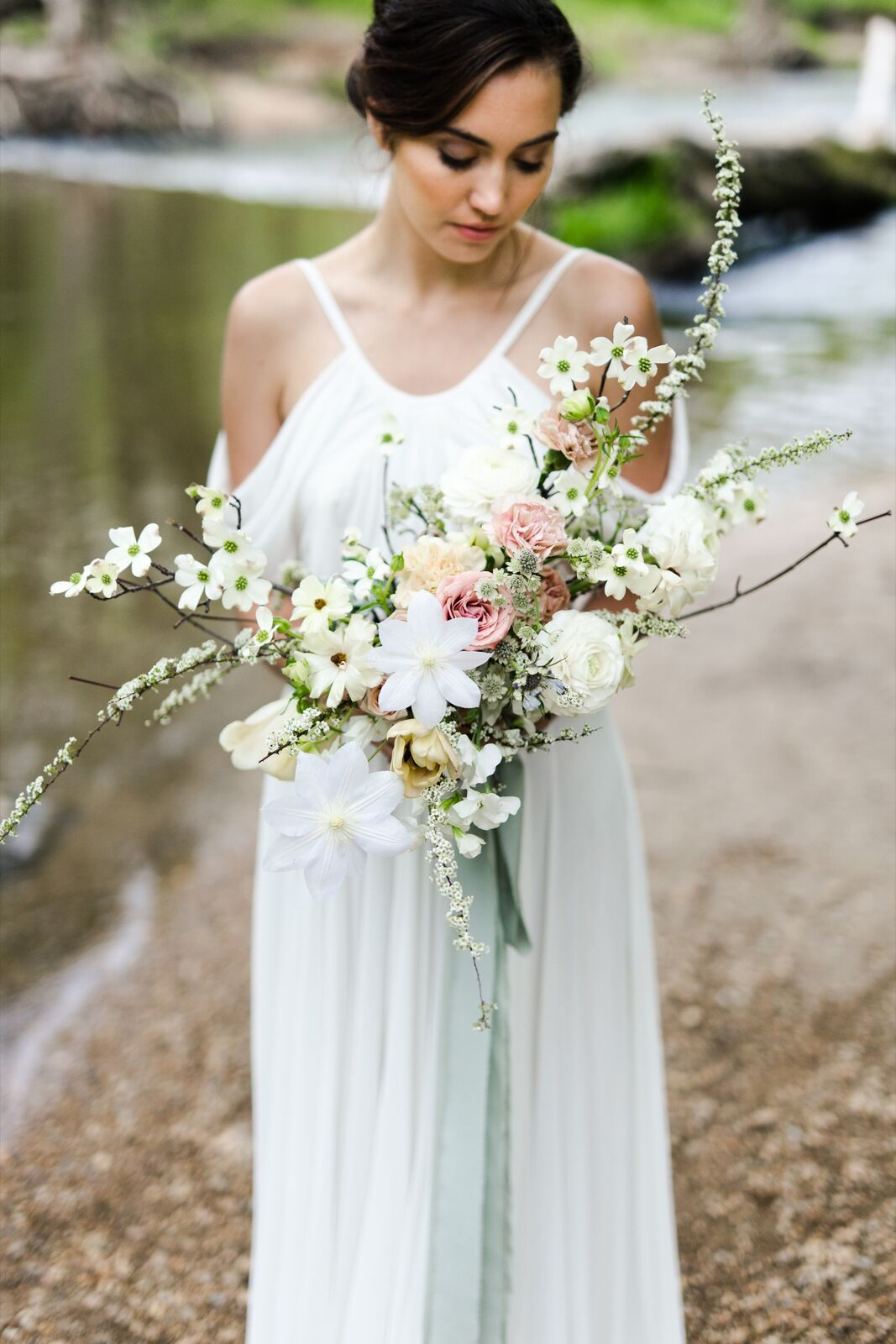 soft pink and white themed dogwood bouquet