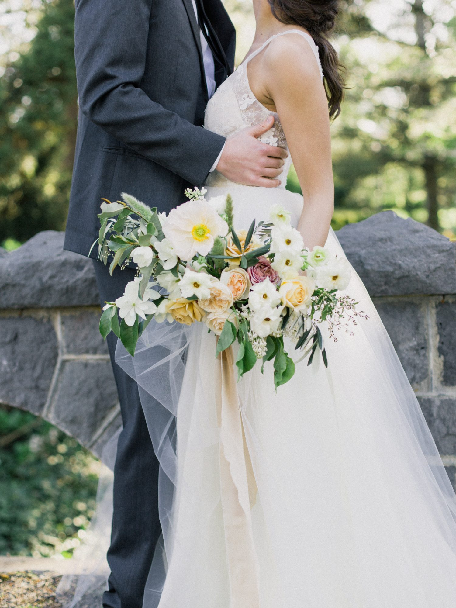 yellow and white romantic dogwood bouquet