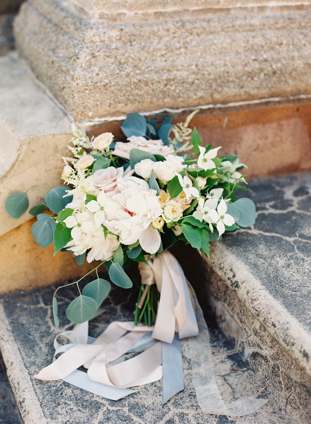 mixed flower bouquet with ribbons