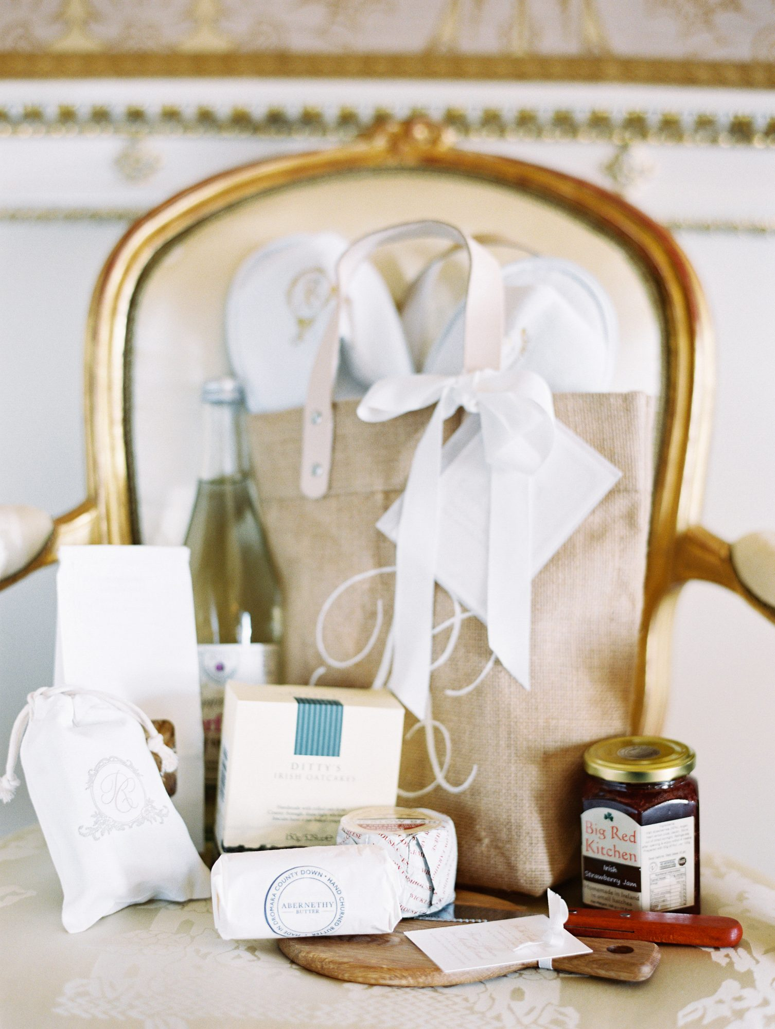 ramsey charles ireland wedding welcome bag and contents sitting on chair