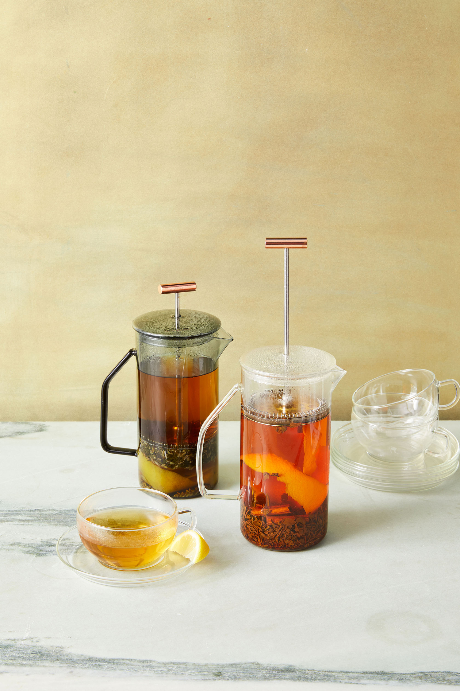 citrus mint and spicy assam tea in french press