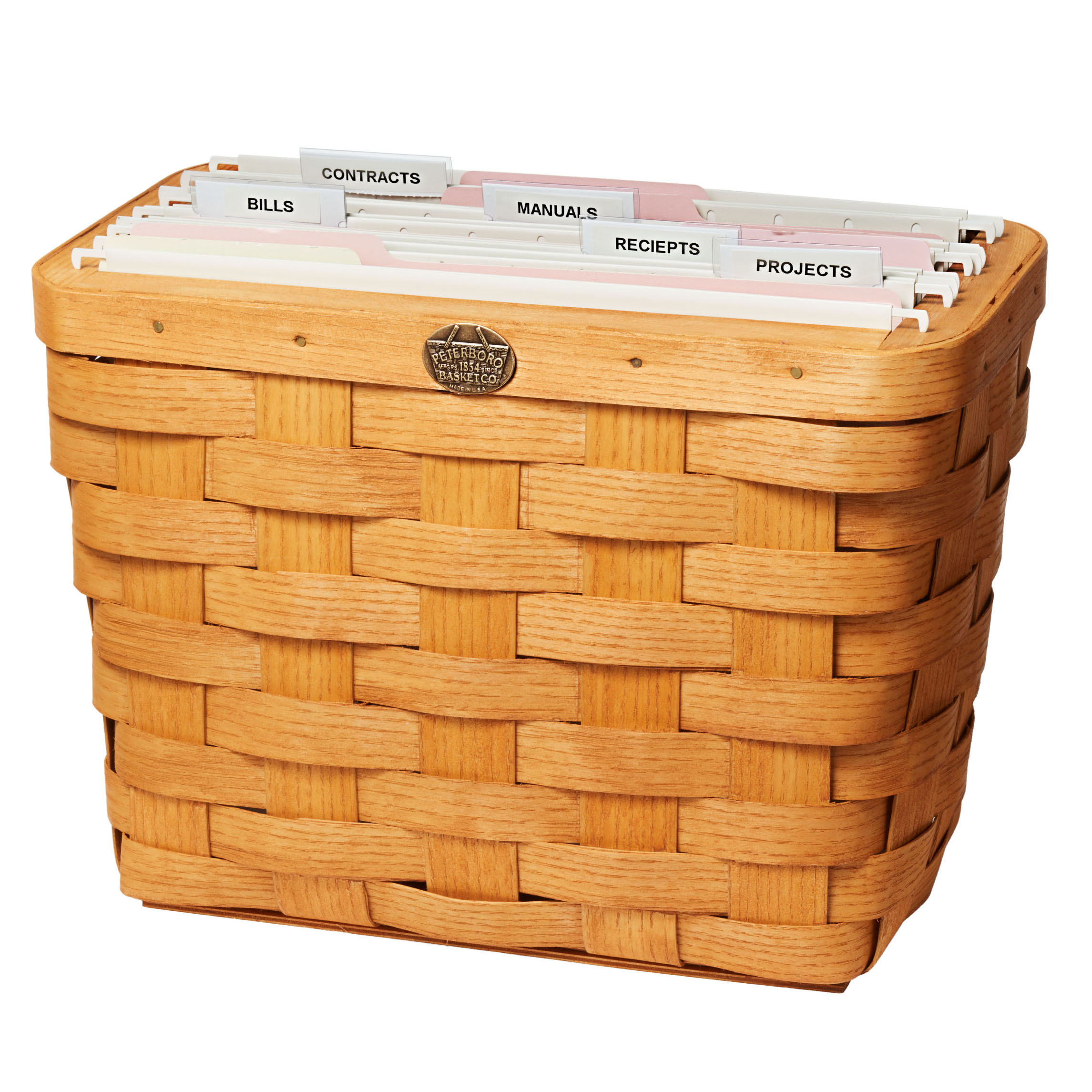 wicker hanging file box with tabs