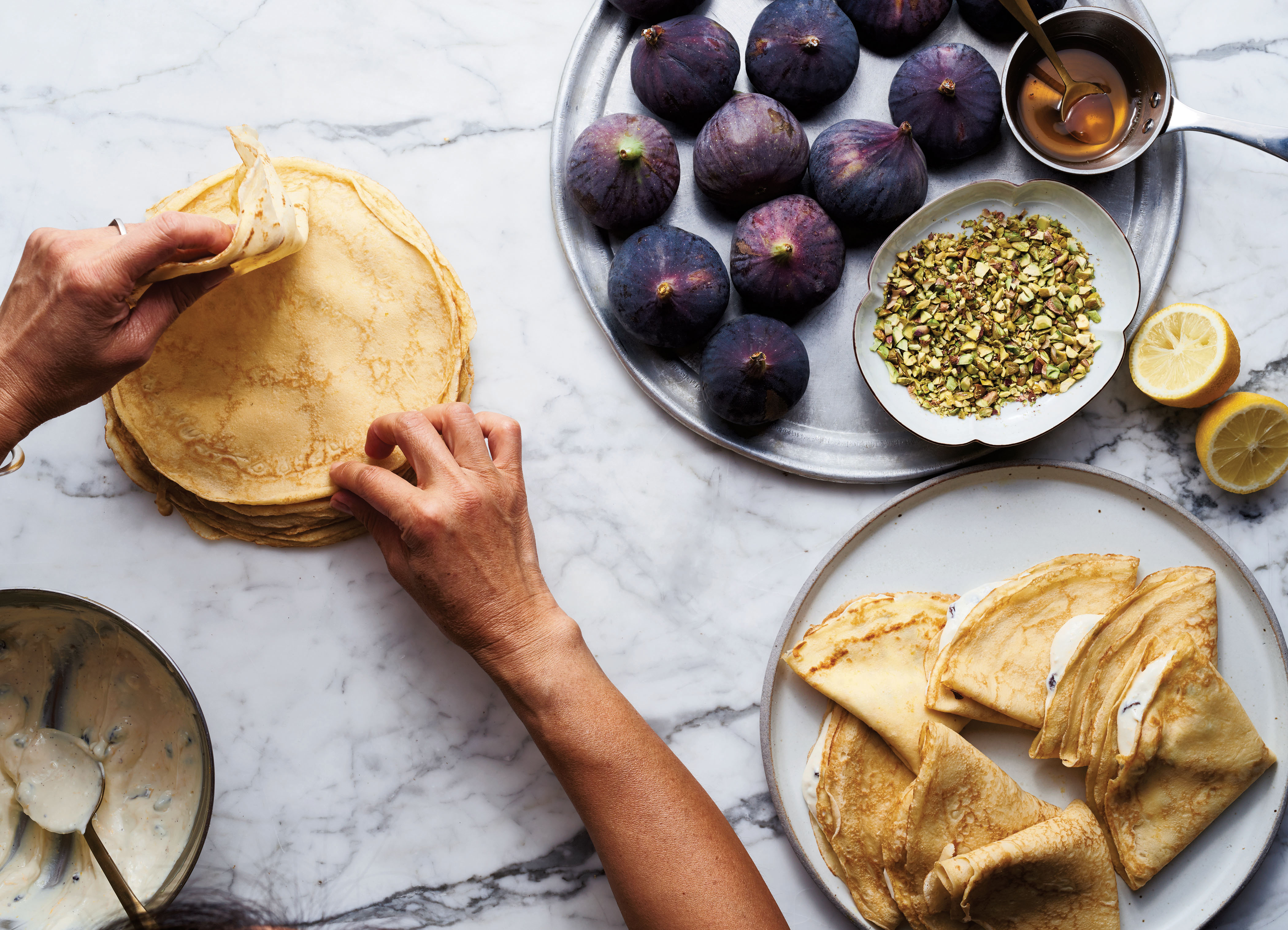 sweet ricotta crepes with figs