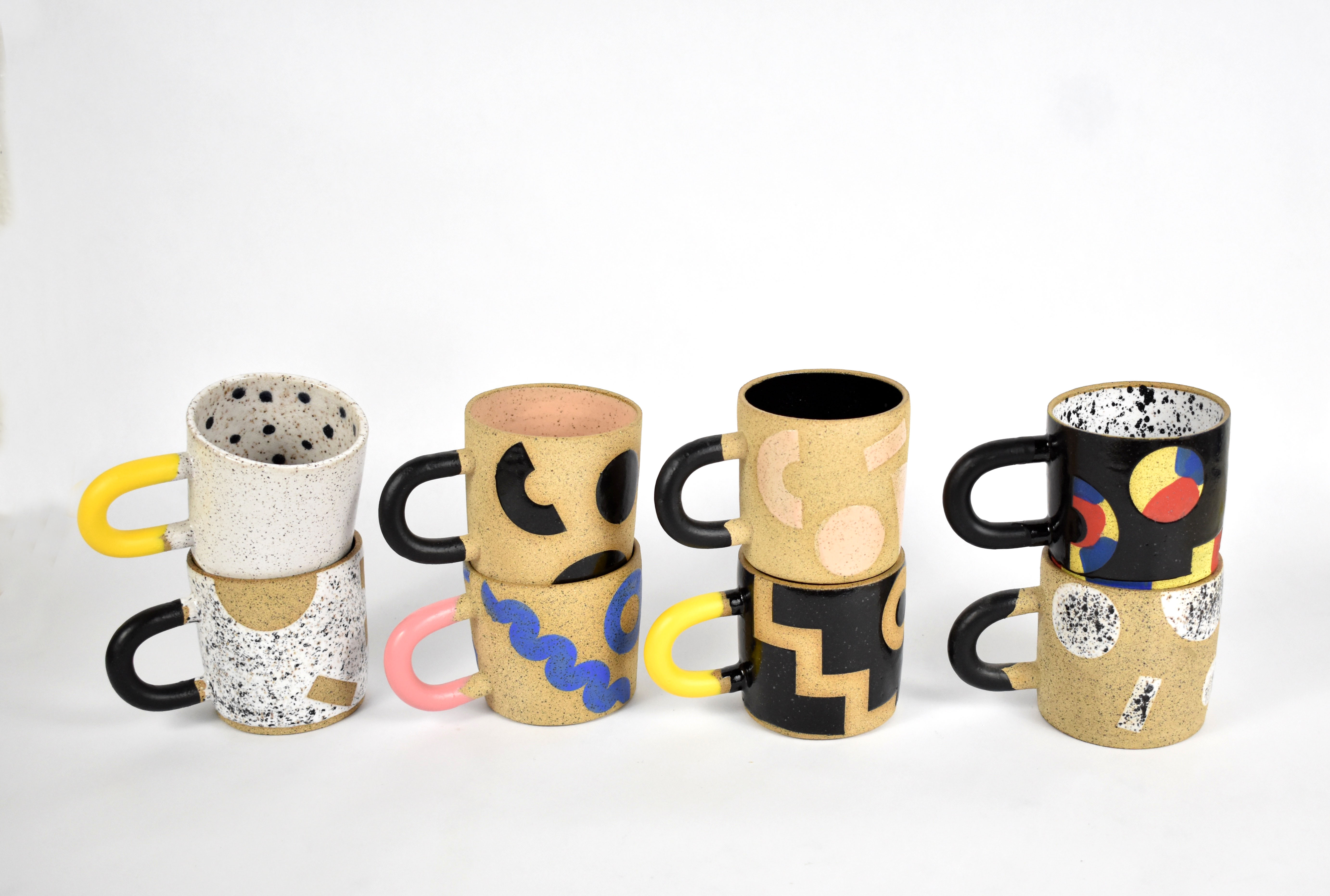 80s inspired stoneware mugs