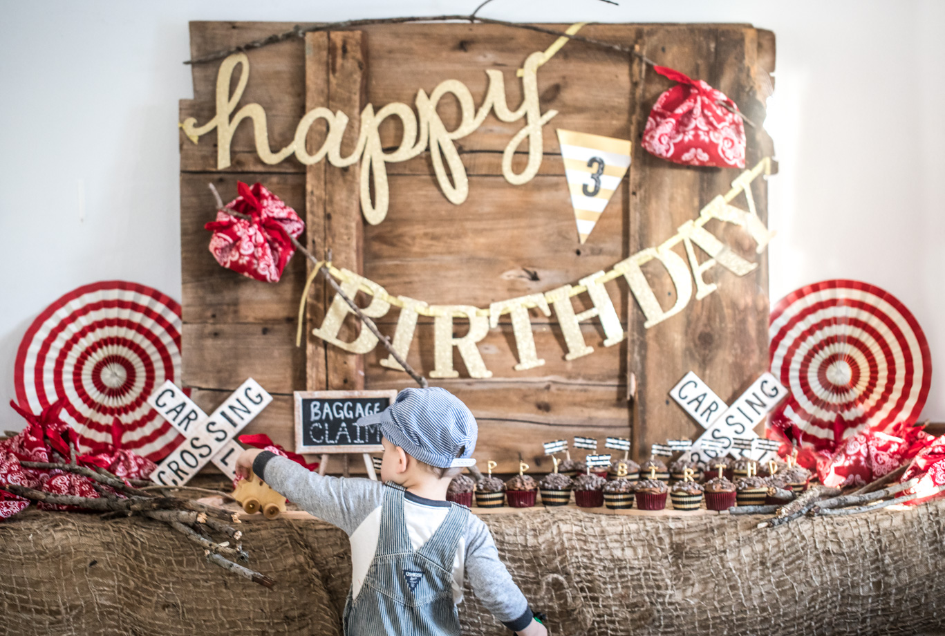 little boy train birthday party