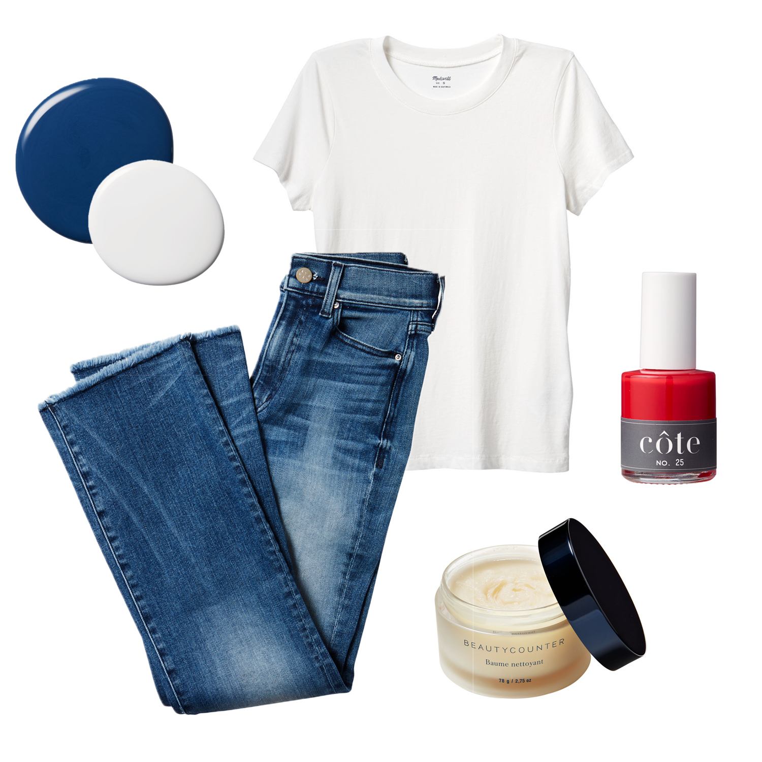 paint swatches t-shirt jeans nail polish and cleansing balm collage