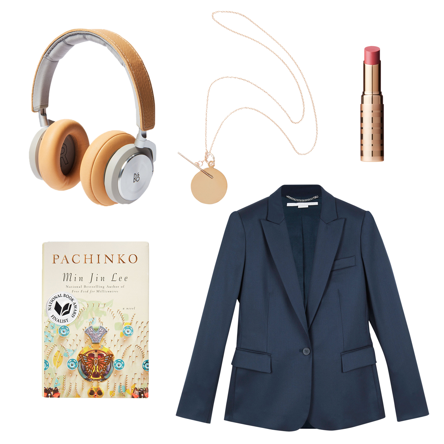 headphones jacket necklace book and lipstick collage