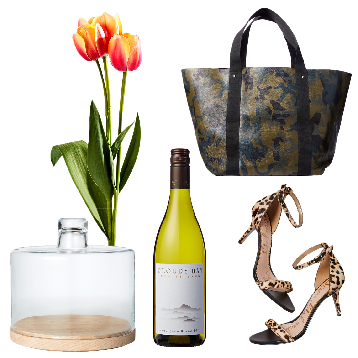 tote cake dome tulip wine and sandals collage