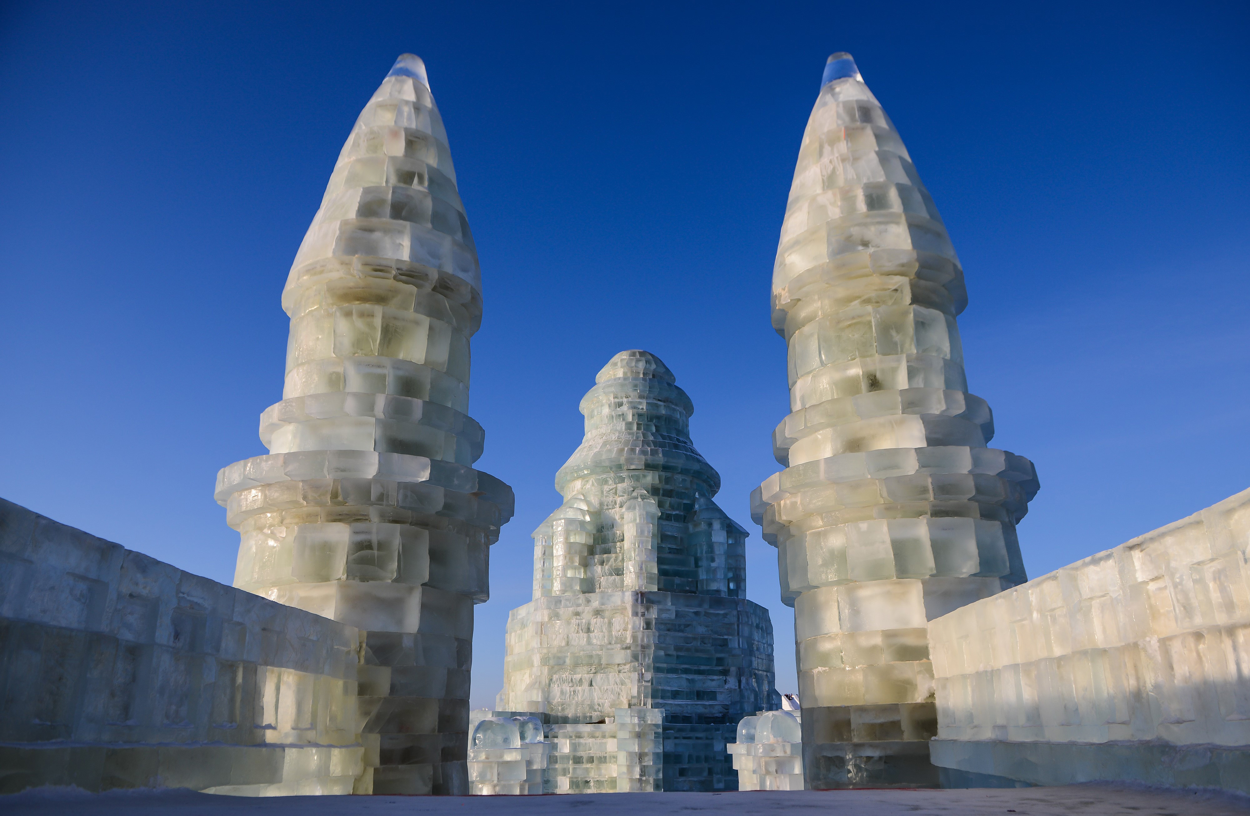 fortress architectural ice sculpture