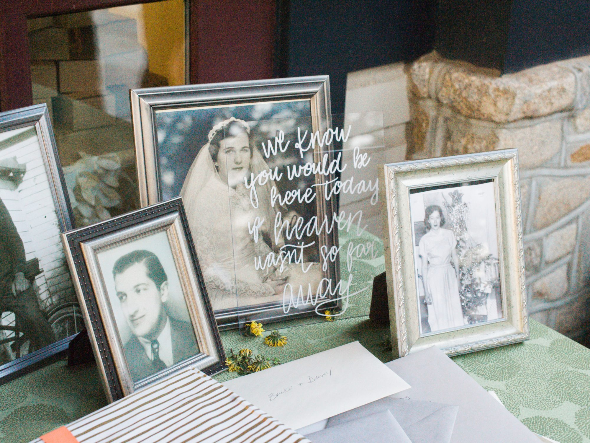wedding family tribute table with old photos