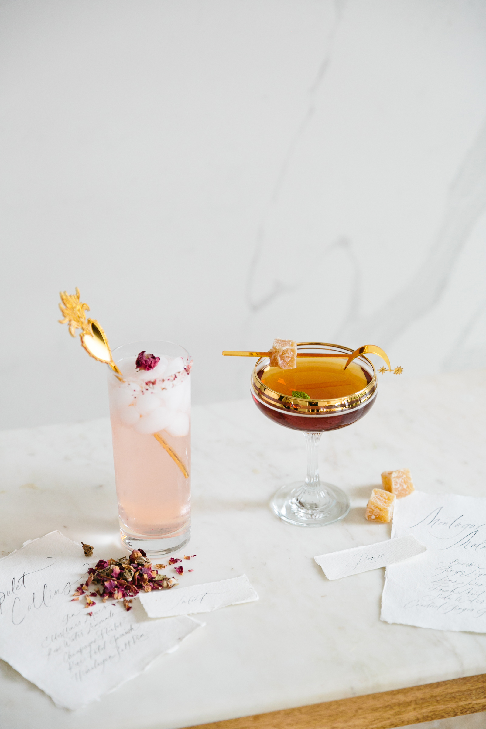 romeo and juliet valentines day party cocktails with gold star stir sticks