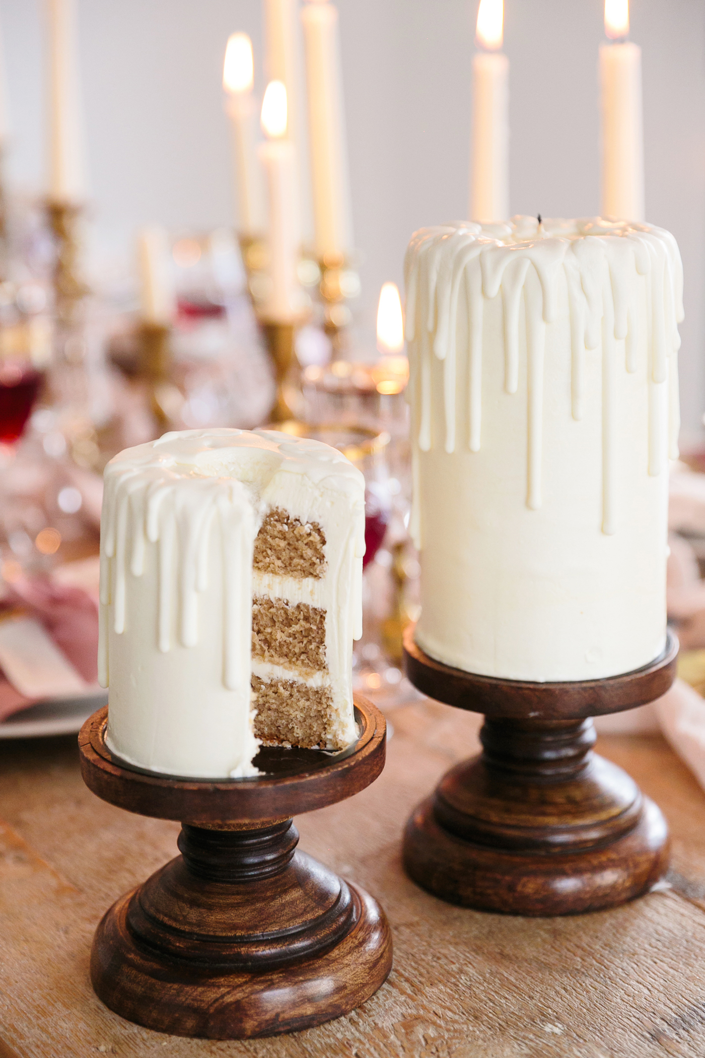 romeo and juliet valentines day party two cakes decorated like white candles dripping wax