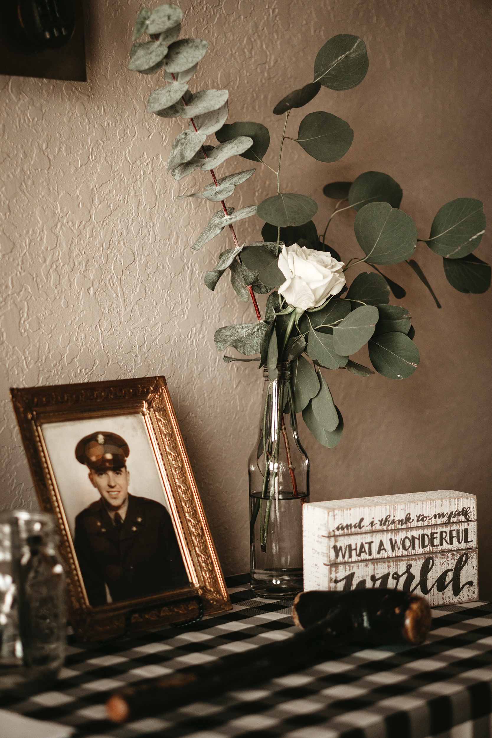 grandfather's 90th birthday framed picture with white rose