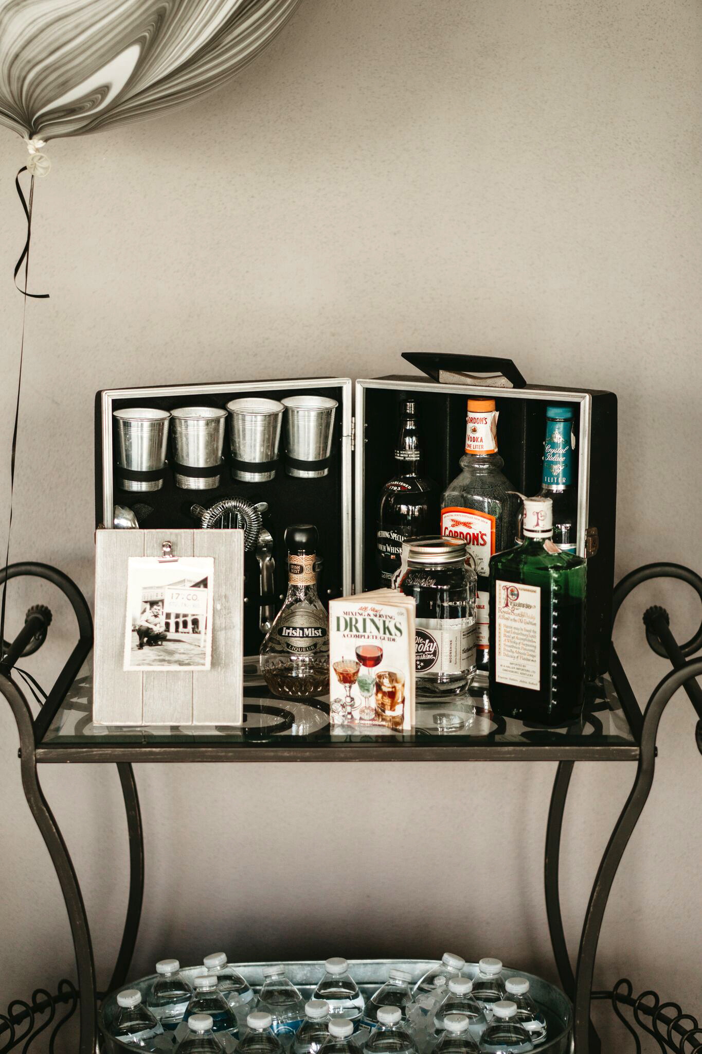 grandfather's 90th birthday alcoholic drinks station