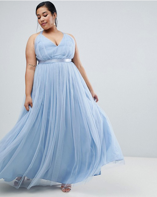 long baby blue tulle dress with ribbon waist accent