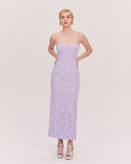 ankle length Lilac Corded Lace spaghetti strap dress