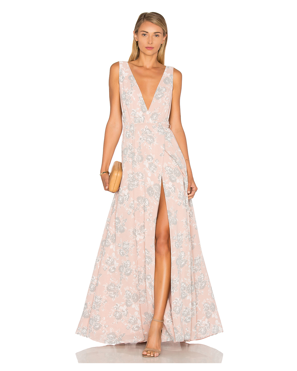 peach Wrap front with tie closure maxi dress with gray and white floral pattern