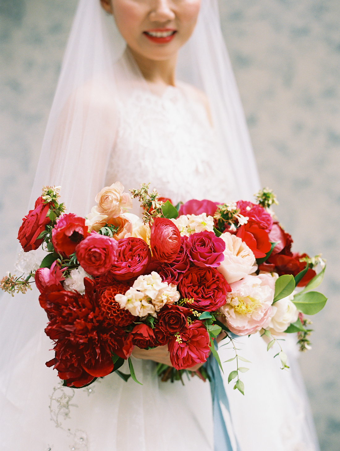 bold bouquet of red flowers