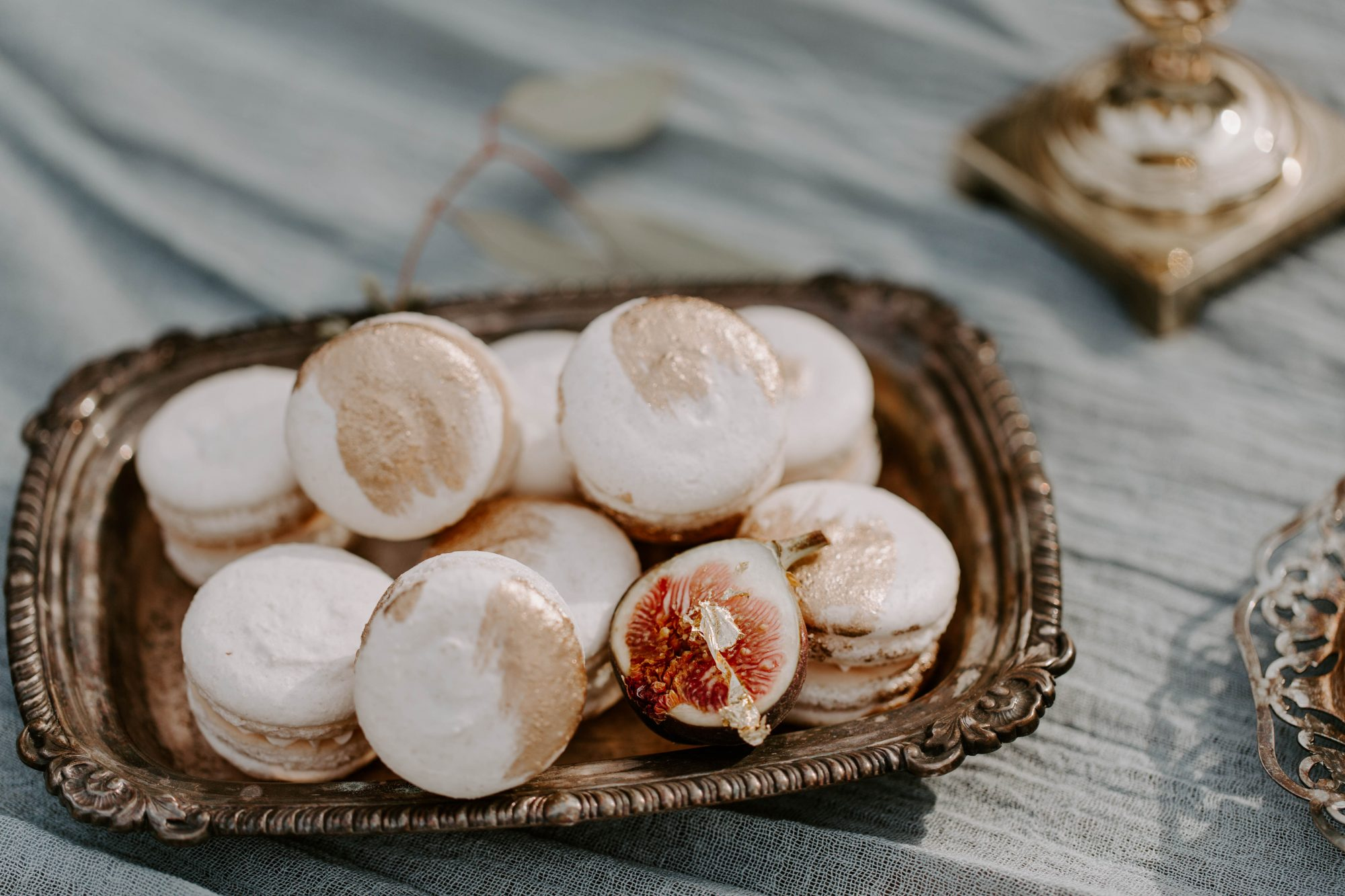 gold accented macarons