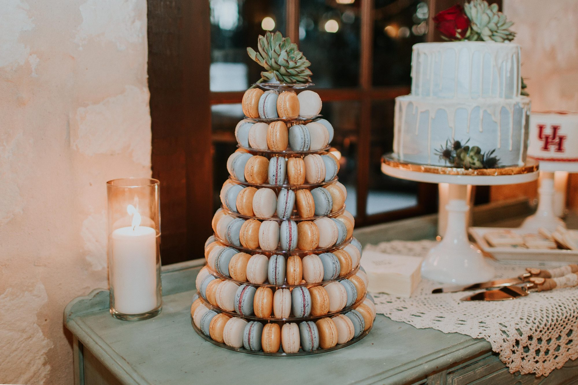 orange and blue macaron tower with succulent