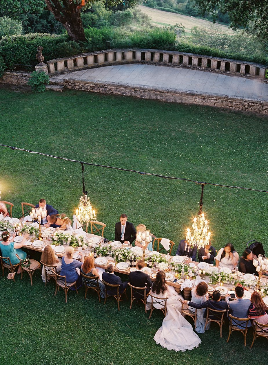 long table outdoor wedding reception