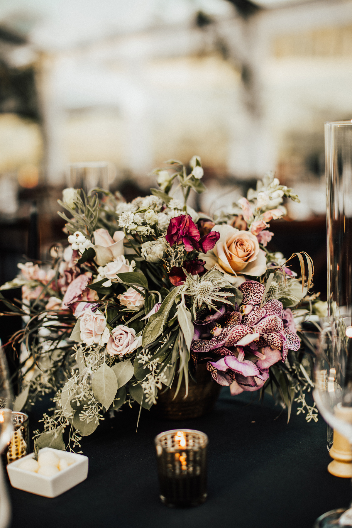 dark floral and fruit mixed centerpieces