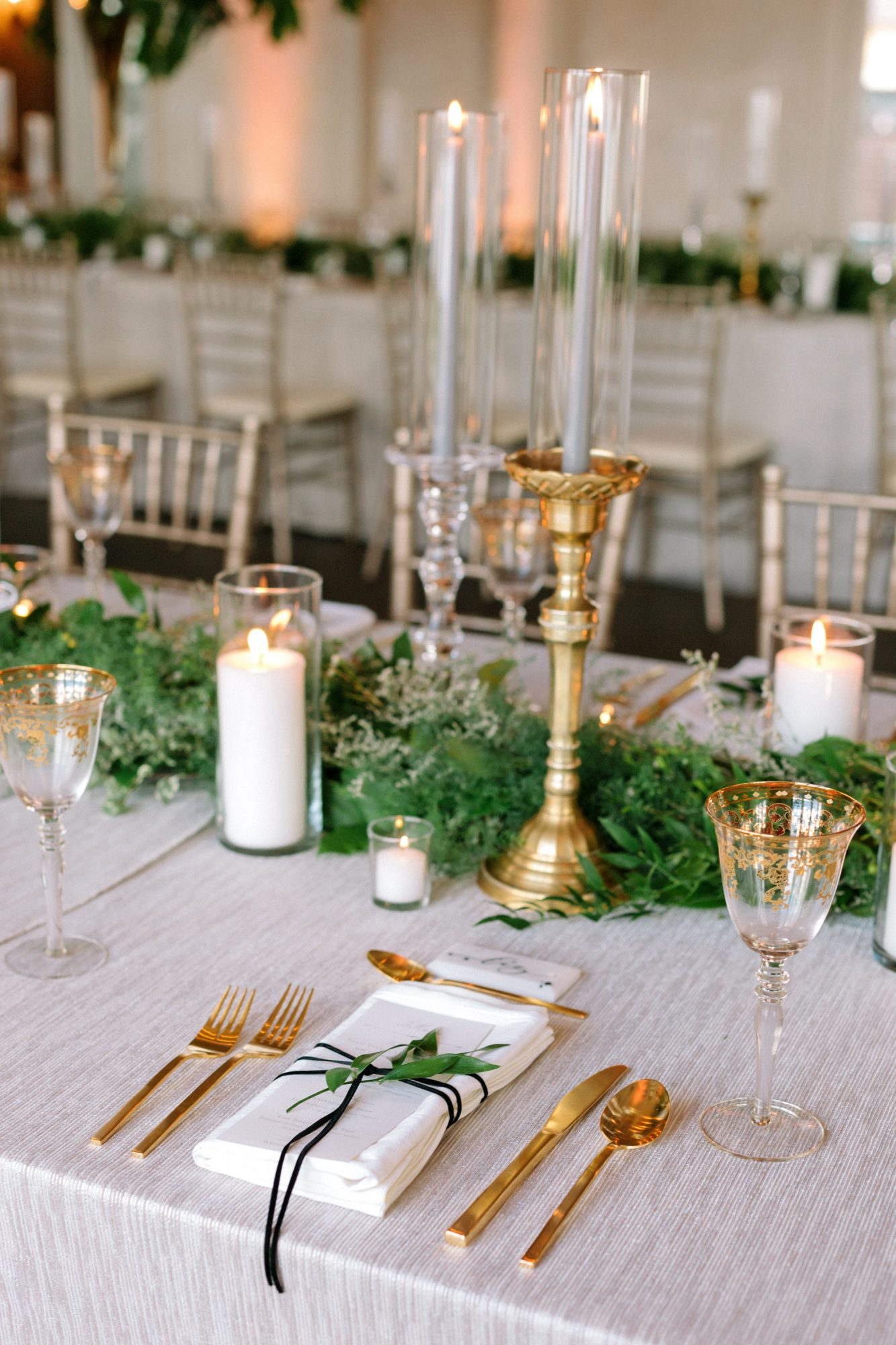 kate austin wedding reception placesetting candles