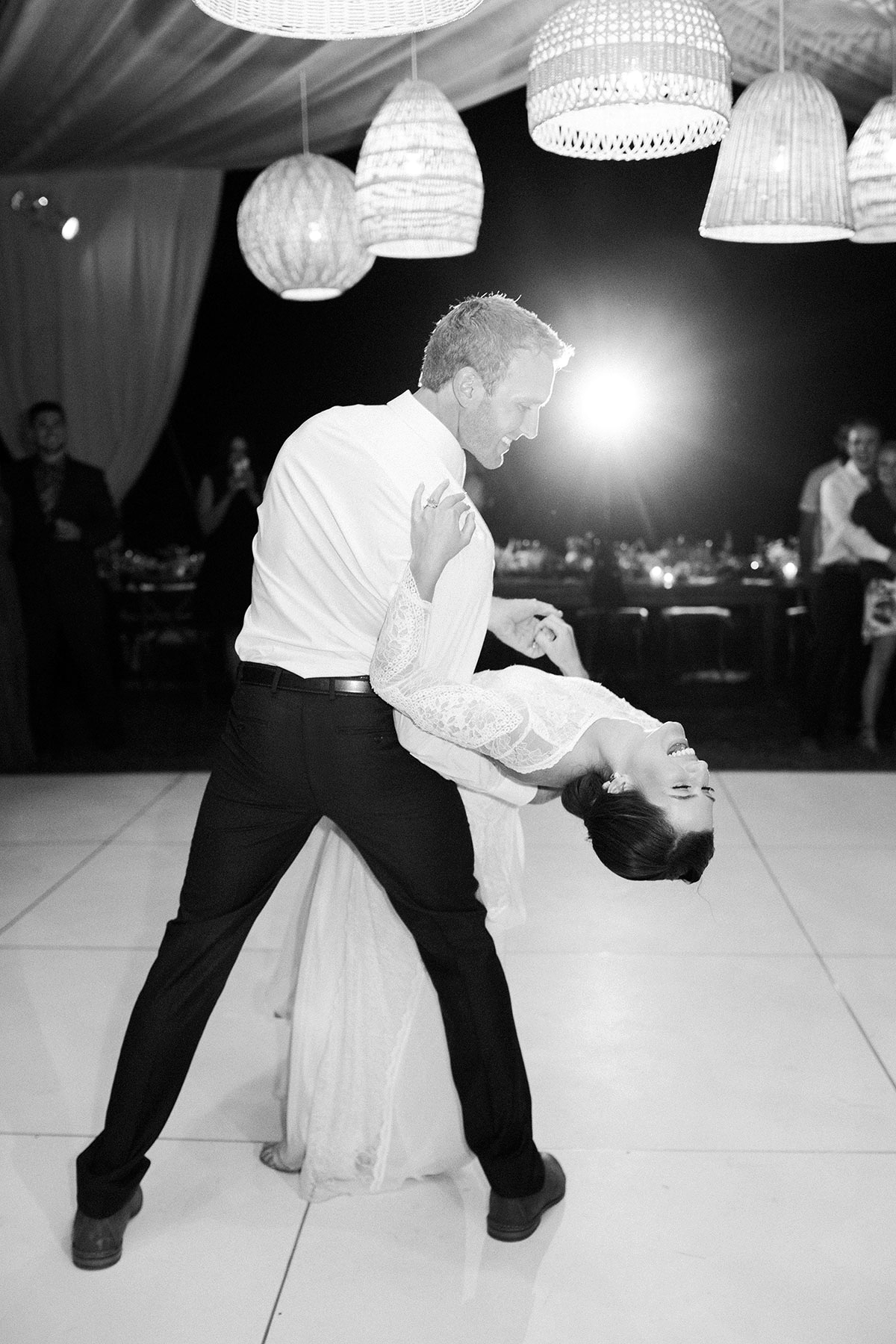jena donny wedding first dance couple dip black and white