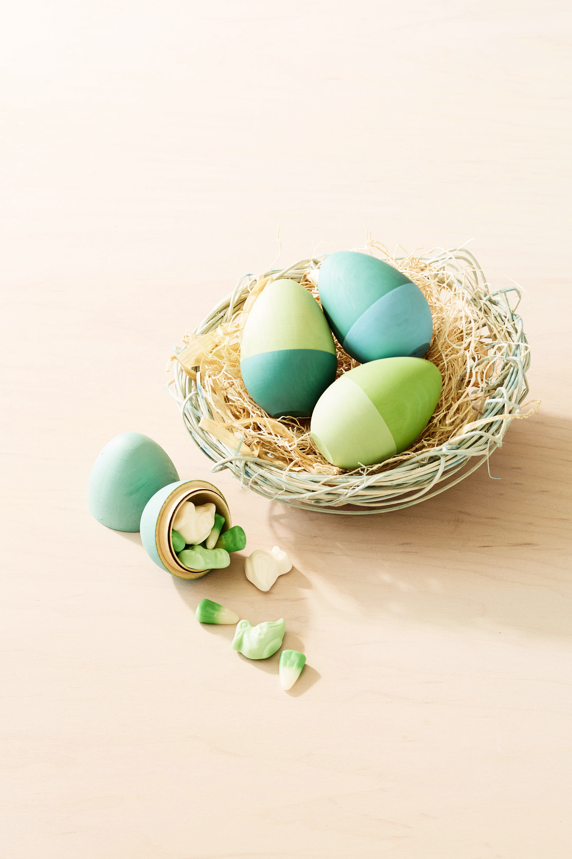 green wooden easter eggs
