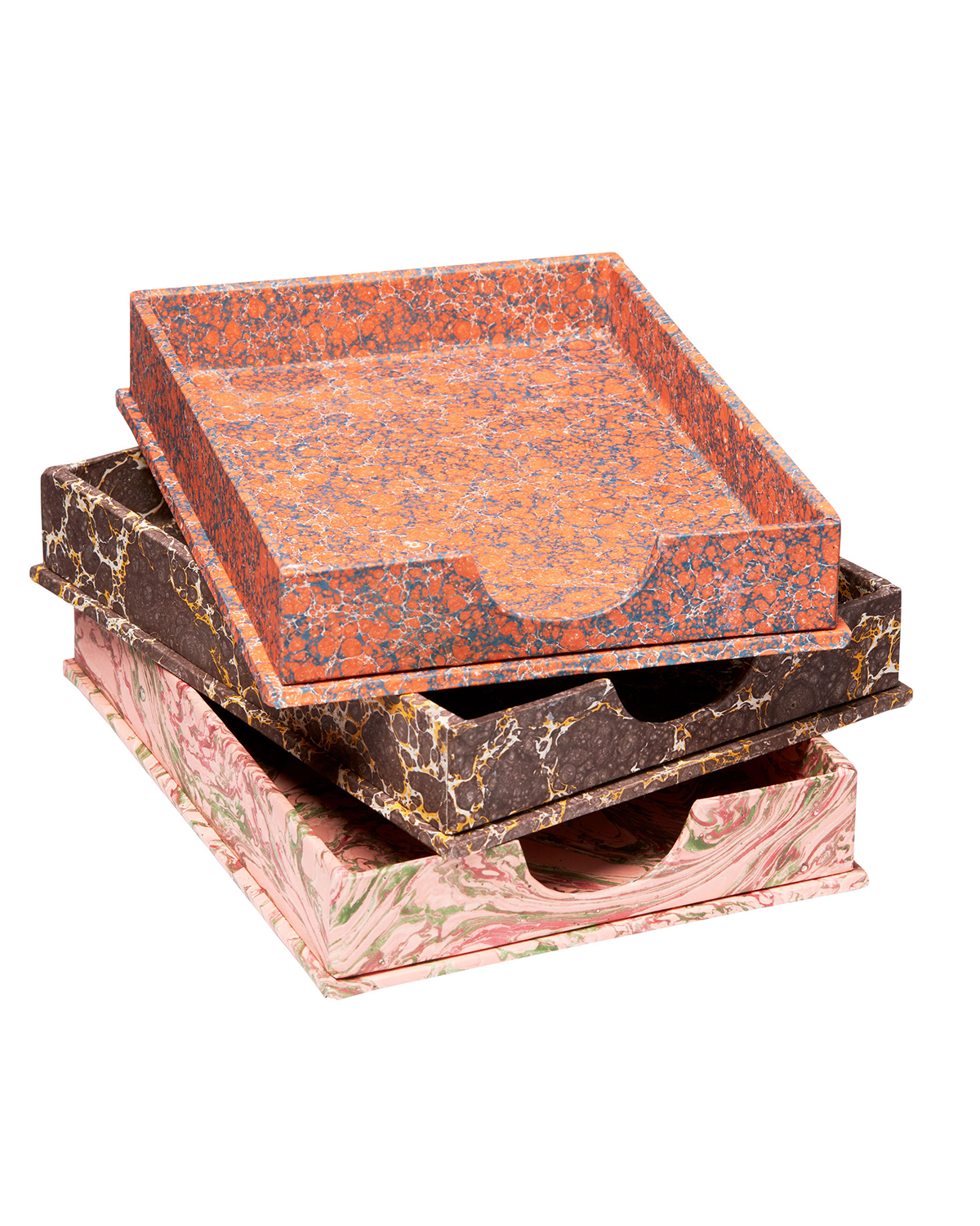 printed design paper covered filing trays