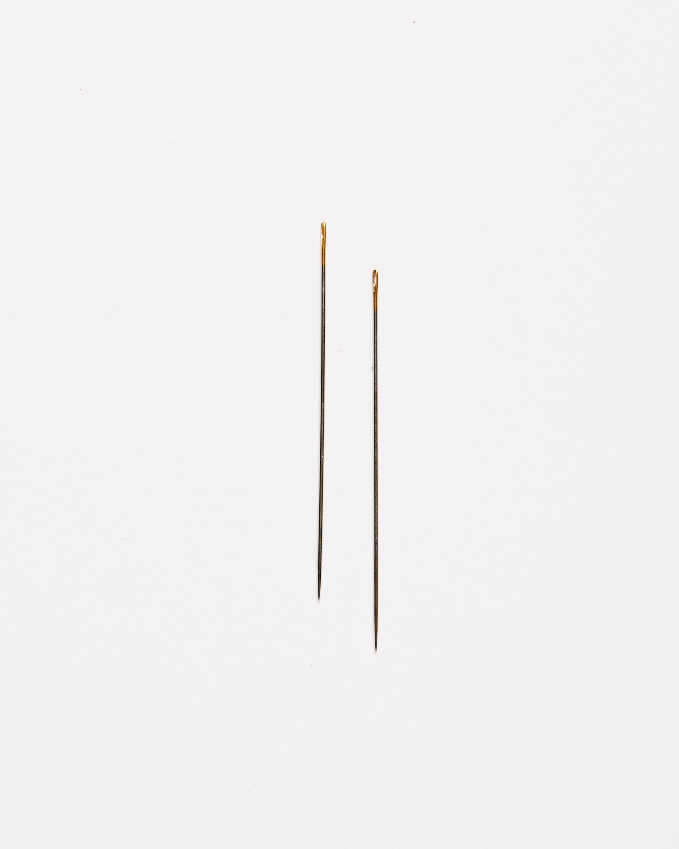 two embroidery milliner needles against a white background