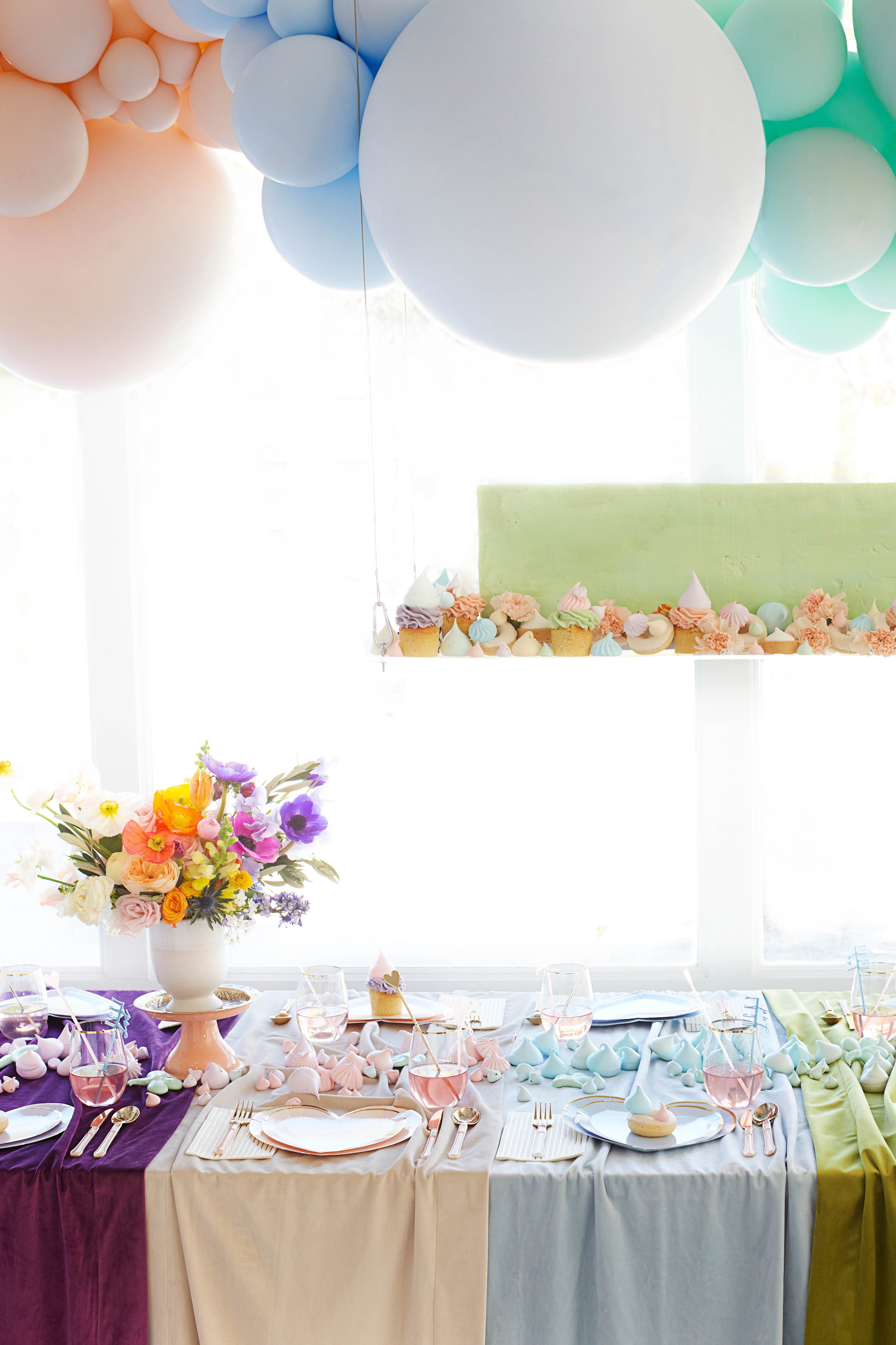 table decorations rainbow baby shower