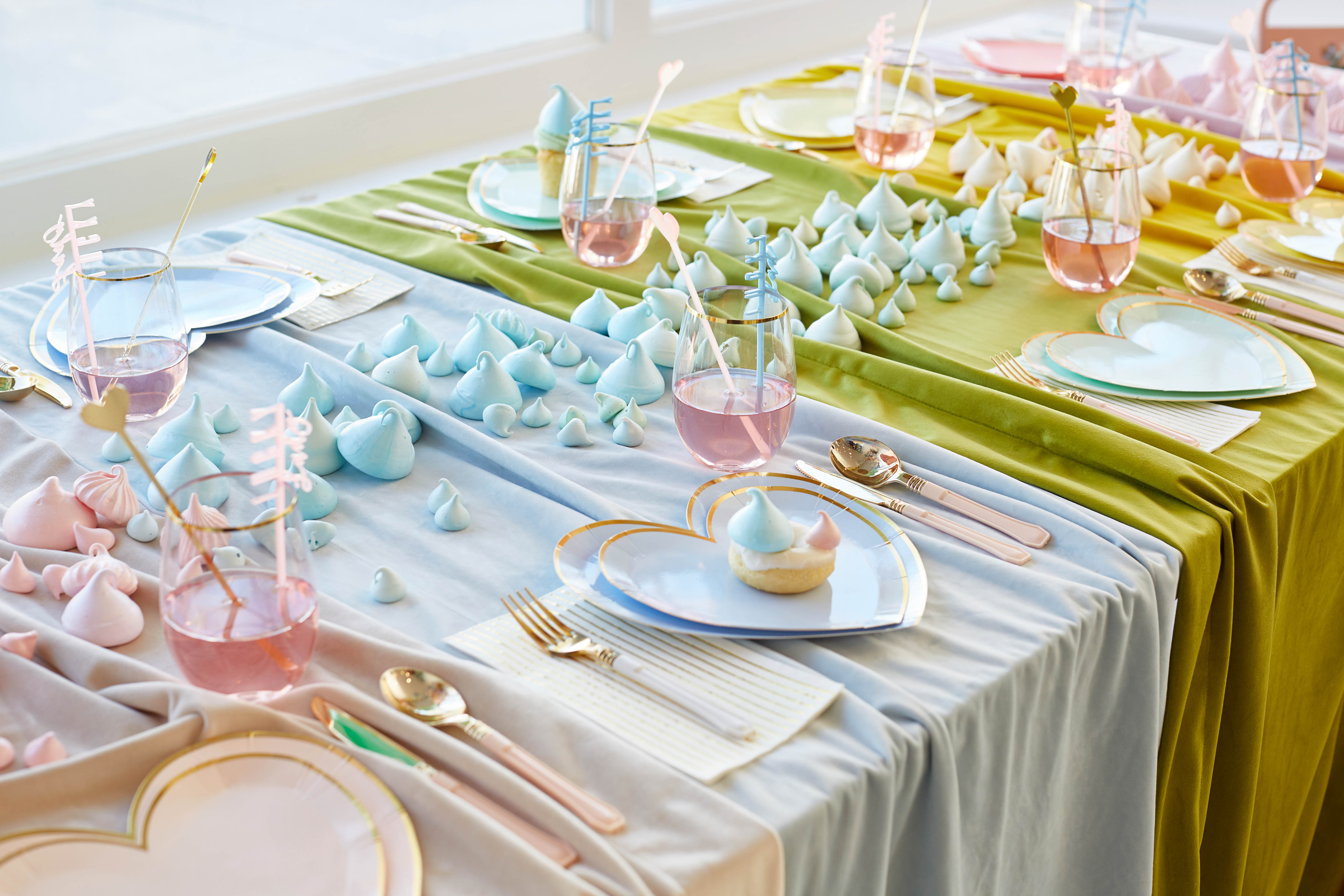 place settings at rainbow baby shower