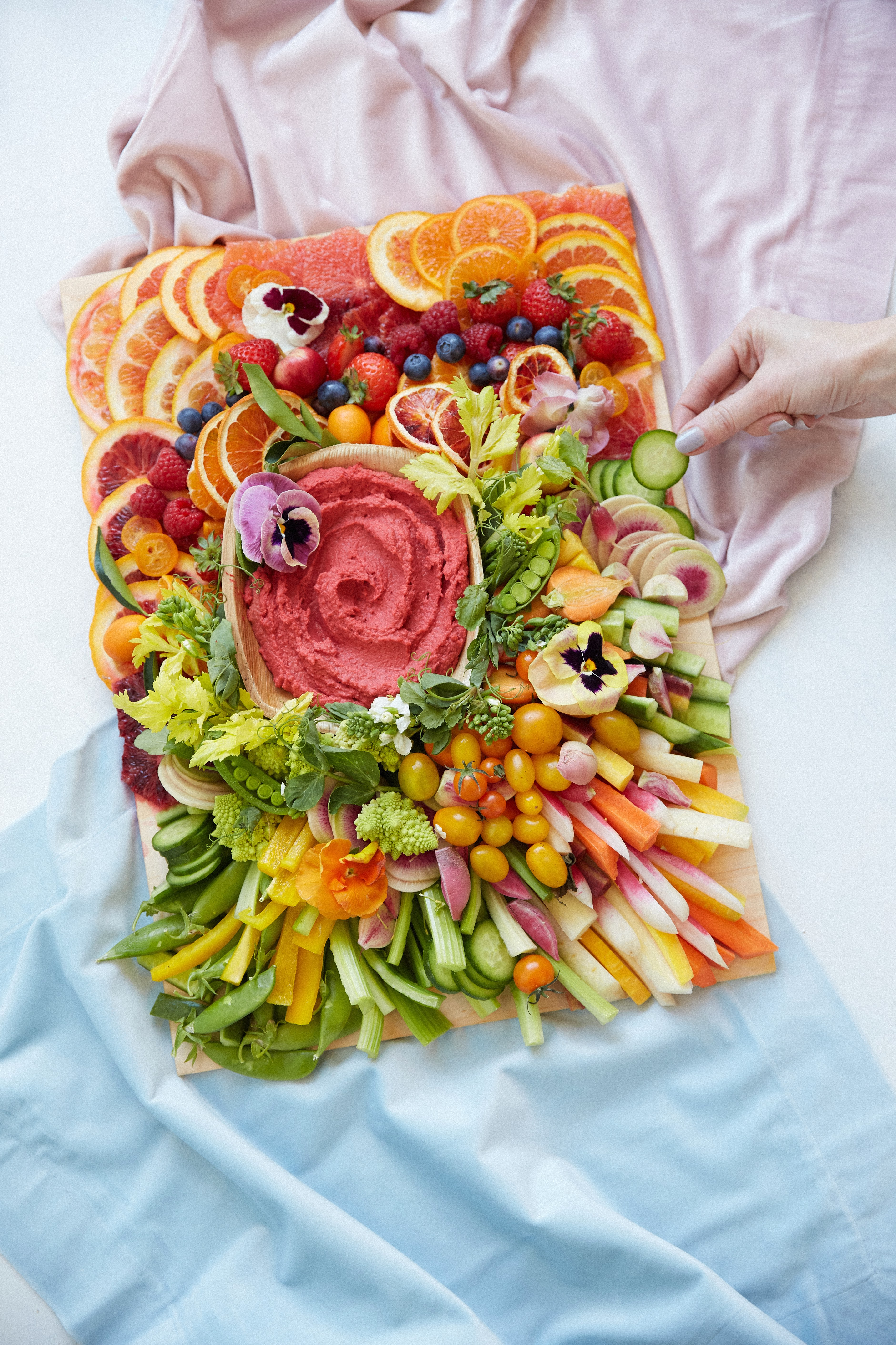 colorful tray of fruits and vegetables