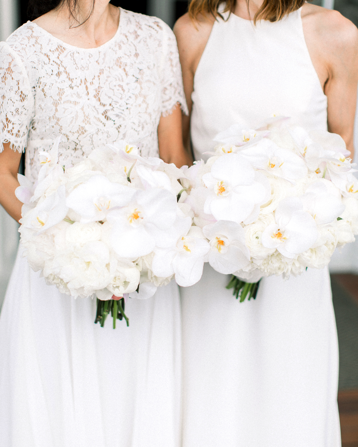 matching all white floral bouquets