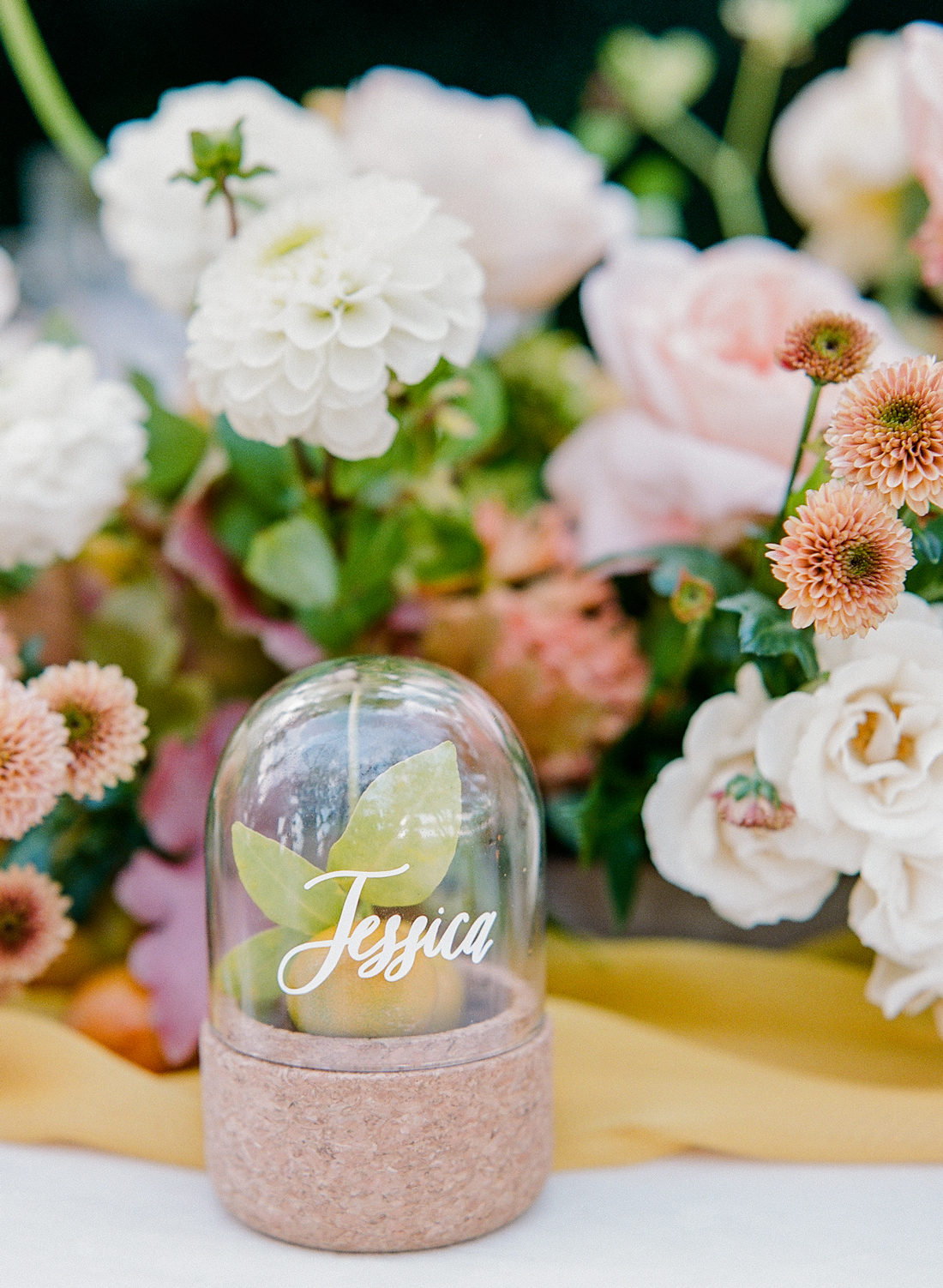 personalized glass cloche placecard