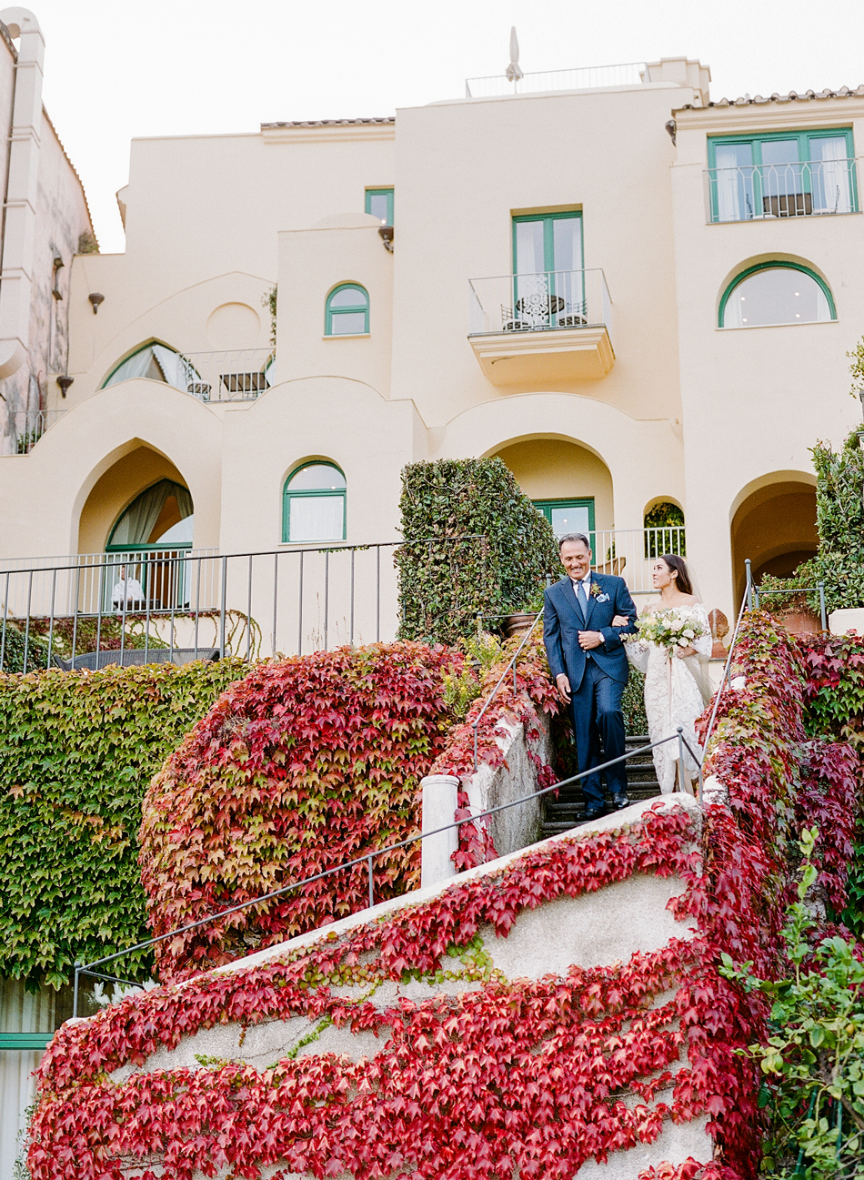 Italian wedding processional outdoors