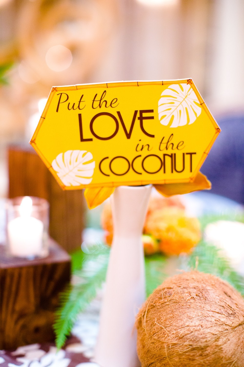 """yellow """"Put the Love in the Coconut"""""""