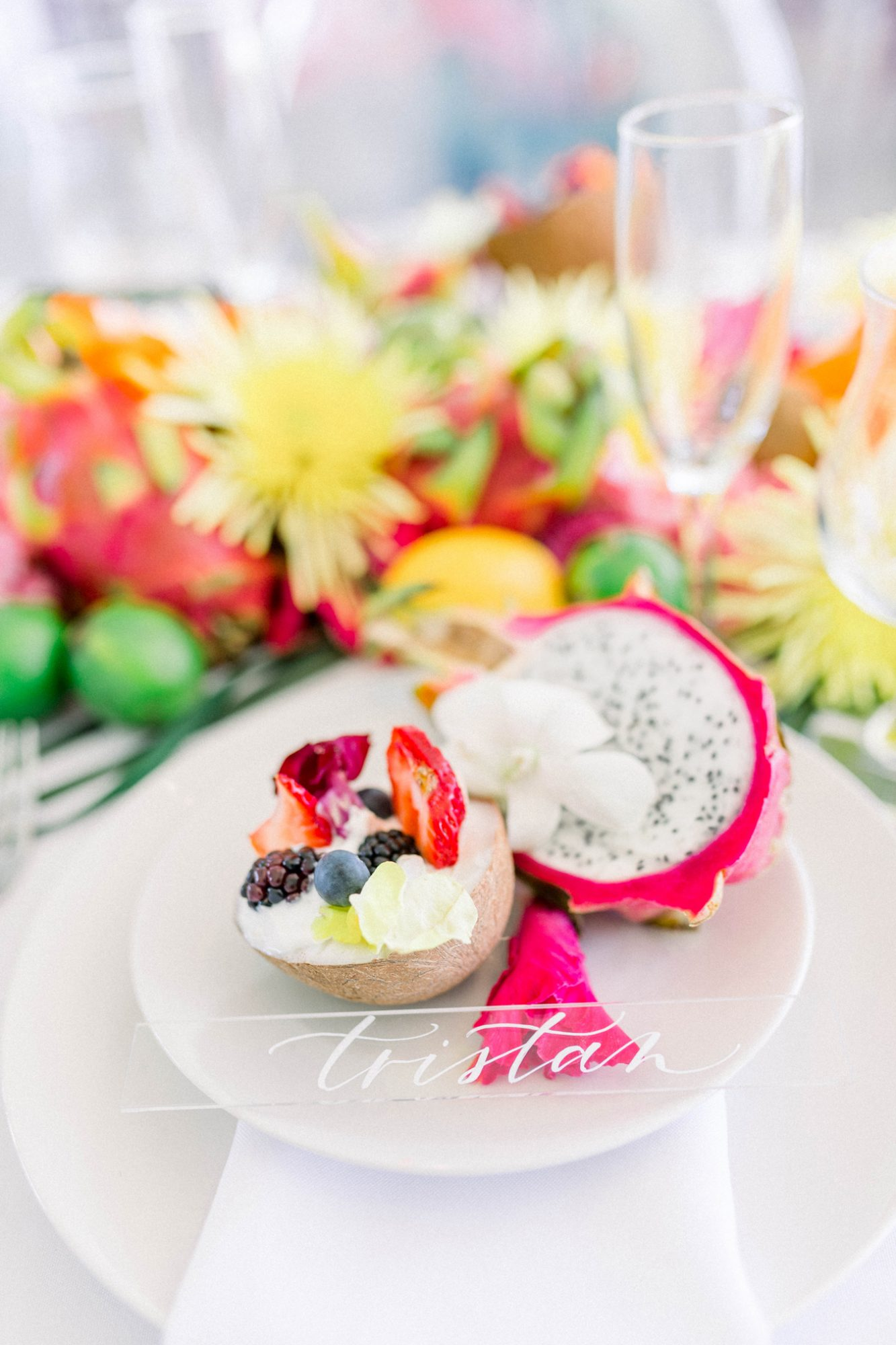 coconut featured dinner dish with fruit