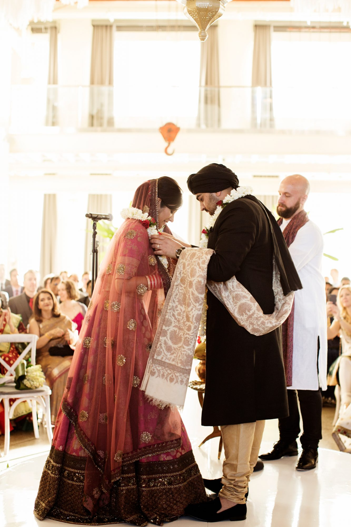 bride and groom during modernized hindu ceremony