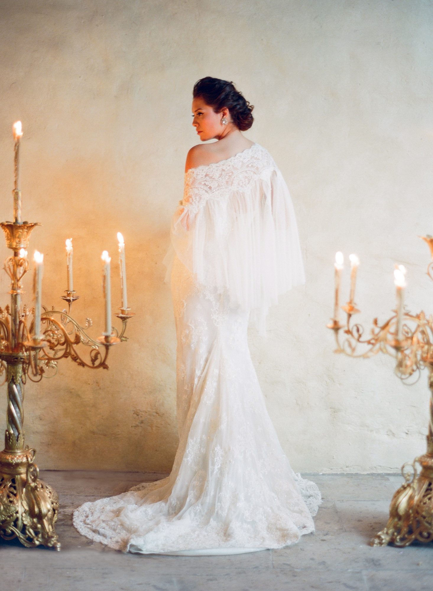 pleated bridal cape with lace