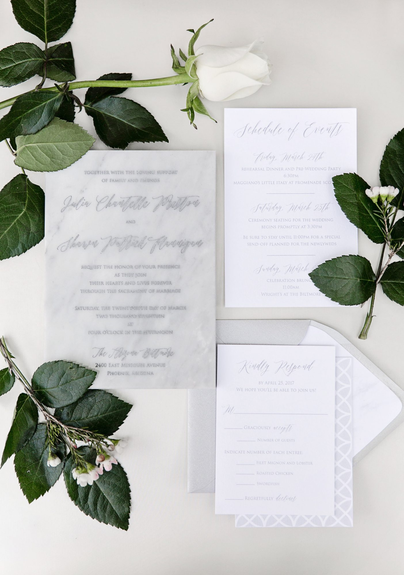muted white marble design stationary wedding invites