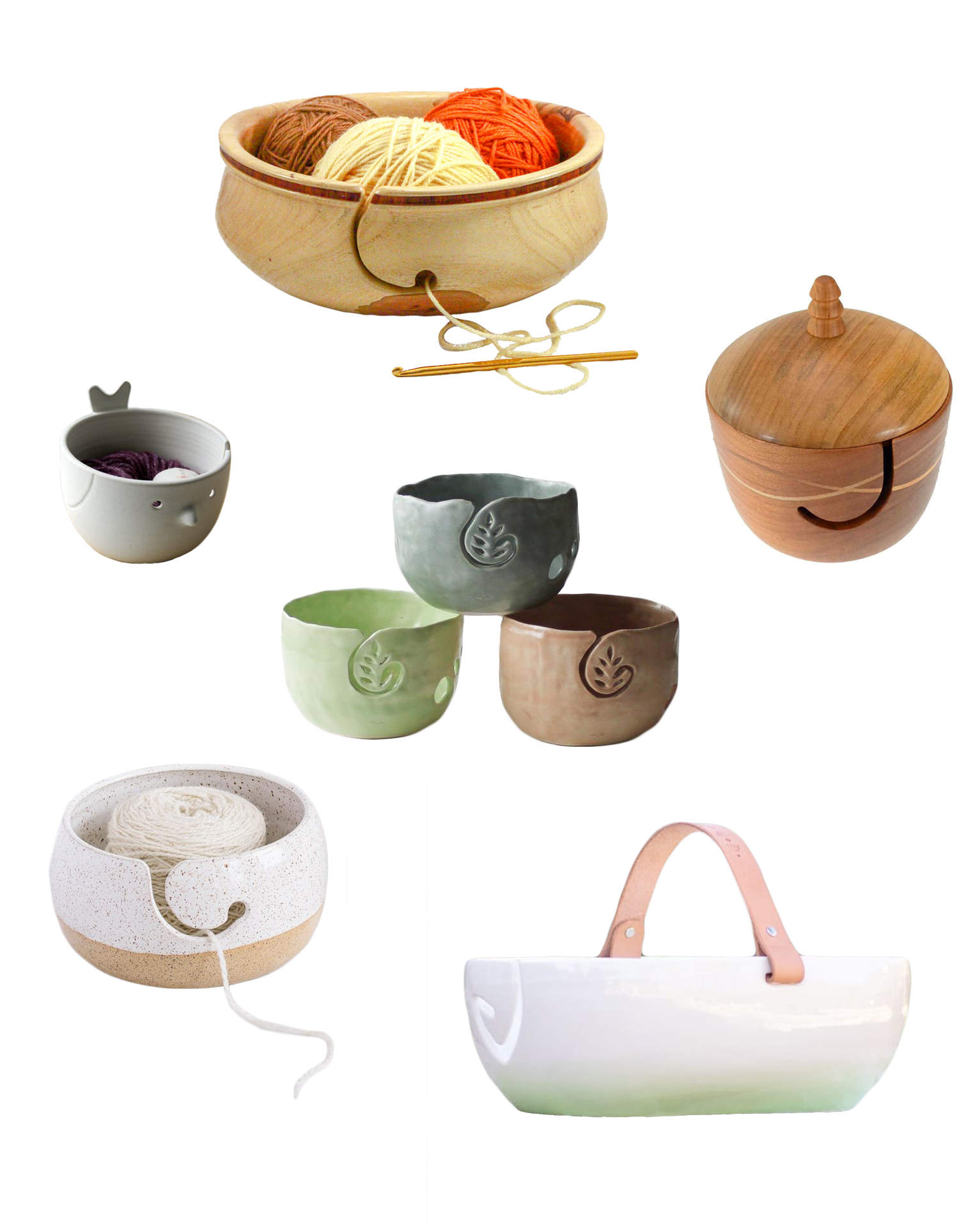 collage of yarn bowls