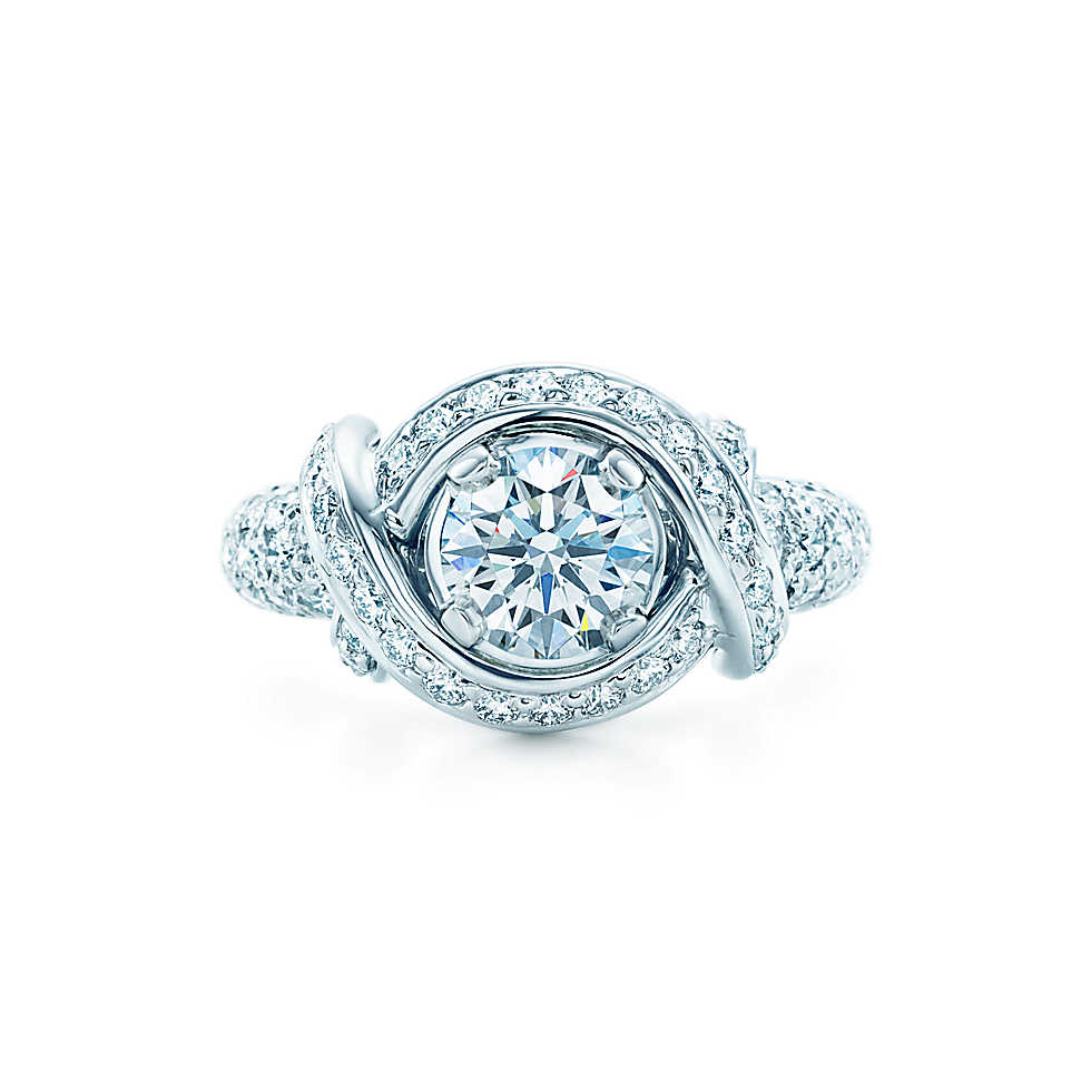 Tiffany & Co. Schlumberger Engagement Ring with Diamond Band