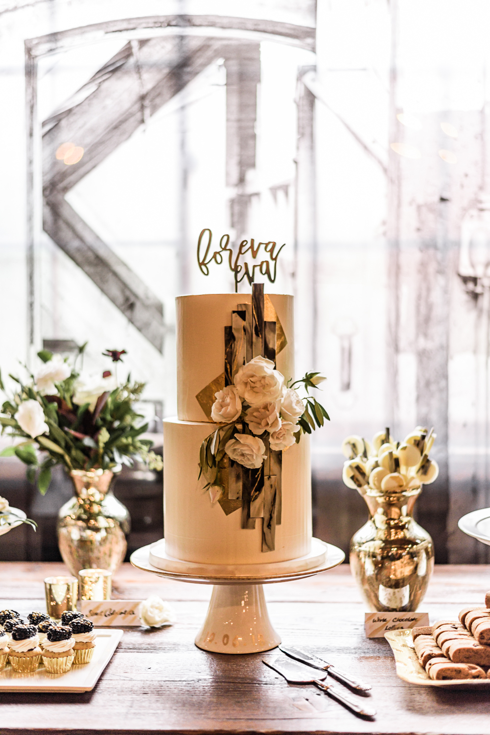 two tier stout cake with brown butter and chocolate
