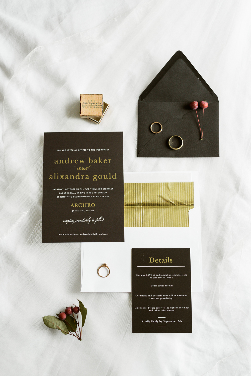 black and white venue inspired stationary suit
