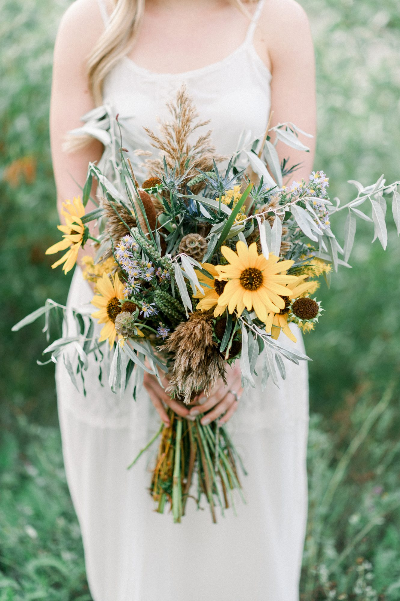 sunflower bouquet with dried elements