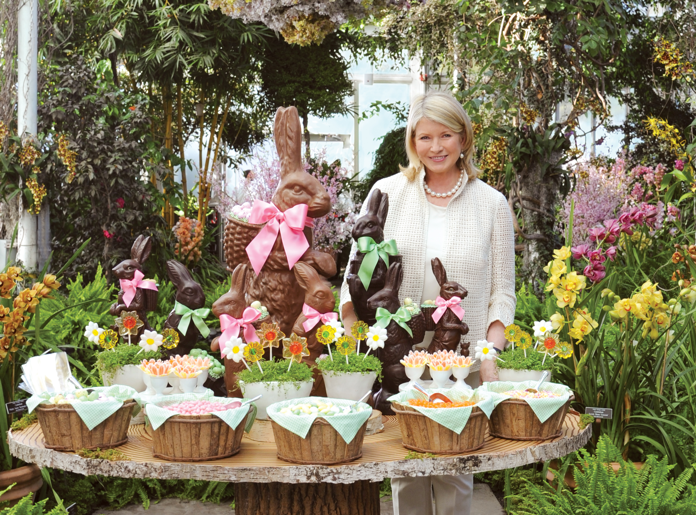 Martha Stewart with Easter Bunnies and Candies