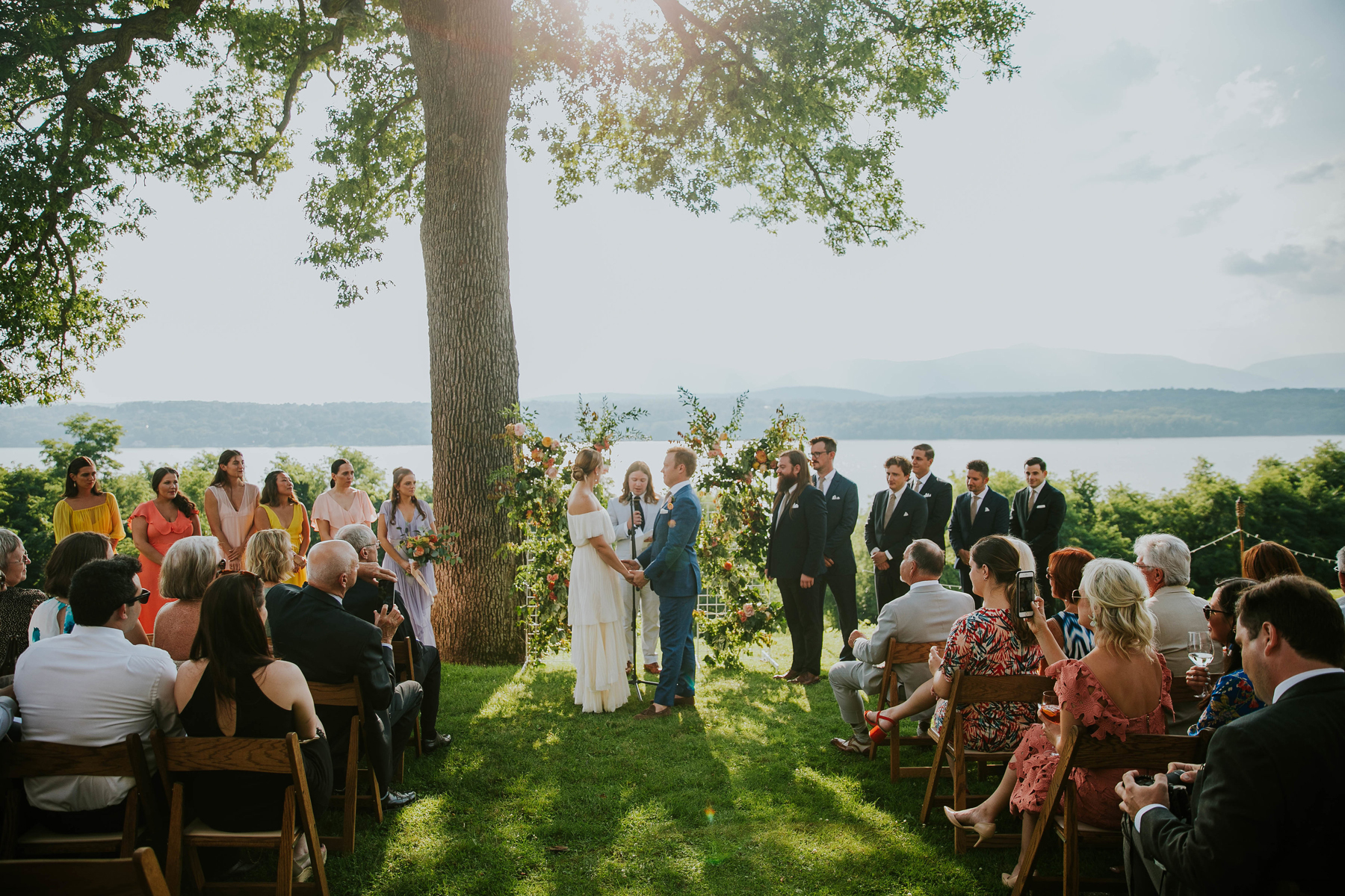 wedding ceremony with hudson river in background