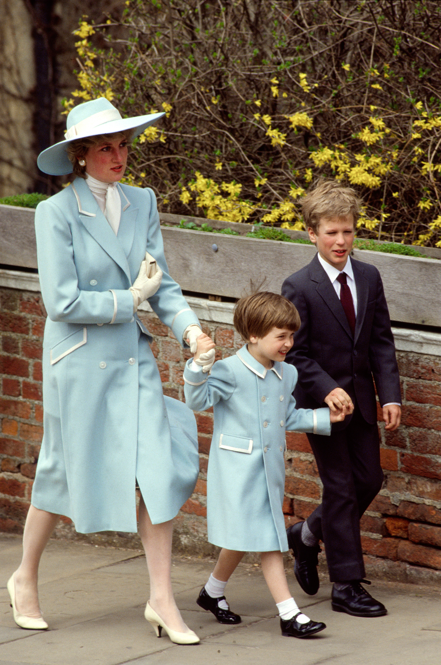 Princess Diana, son and nephew walking to easter service